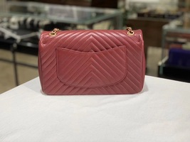 NEW AUTHENTIC CHANEL RED ROCK THE CORNER CHEVRON MEDIUM FLAP BAG GHW image 2
