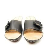 Henry Ferrera Women's Comfort Wedge Sandals Flower Accent Black Size 8M - $33.85