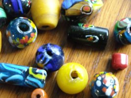 Vintage Trade Beads Hand Crafted Art Glass Mixed Shapes & Colors 54 Total  image 5