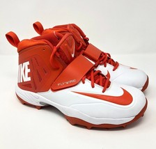 NIKE FLYWIRE Orange White Football Cleats Strap 603350 181 Mens Size 11 - $49.95