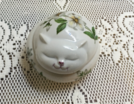 Vintage Round Cat Shaped Trinket Box White Floral Design Made in Japan - $11.25