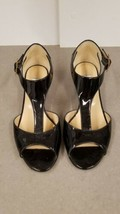 Jimmy Choo Treat Black Patent Leather T-Strap Wedge Sandal Shoes 8.5 / ... - $272.25