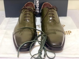 Handmade Men's Green Leather Lace Up Dress/Formal Oxford Shoes image 7