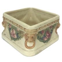 Vintage Weller Ohio Pottery Roma Lion Creamware Square Planter Fruit Gar... - $32.73