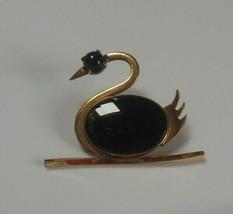 Vintage Signed WRF 1/20- 12k GF Black Onyx Swan Brooch  - $40.10