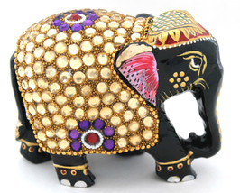 Wooden Elephant Handmade Statue Painted & Zircon Work Figurine for Home ... - $23.81