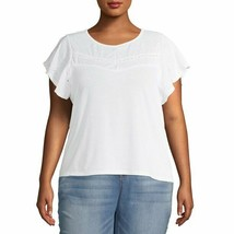 French Laundry Plus Size Scoop Neck Flutter Sleeve Eyelet Top Size 2X, 3... - $14.99