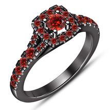 Round Cut Red Garnet Engagement Wedding Ring 14k Black Gold Finish 925 Silver - $78.99