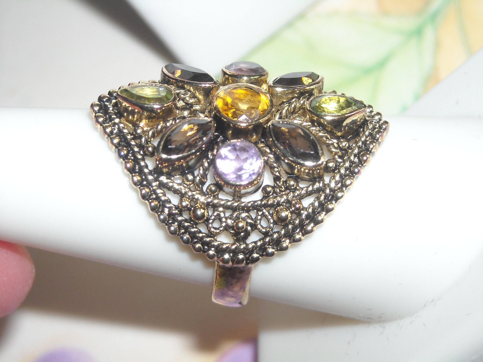 Ring Vermeil 925 Multi Gemstone (9) & Matching Thick Wired Earrings Set