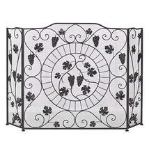 Accent Plus Fireplace Screens Three Panel, Black Western Vineyard Antique Firepl - $91.99