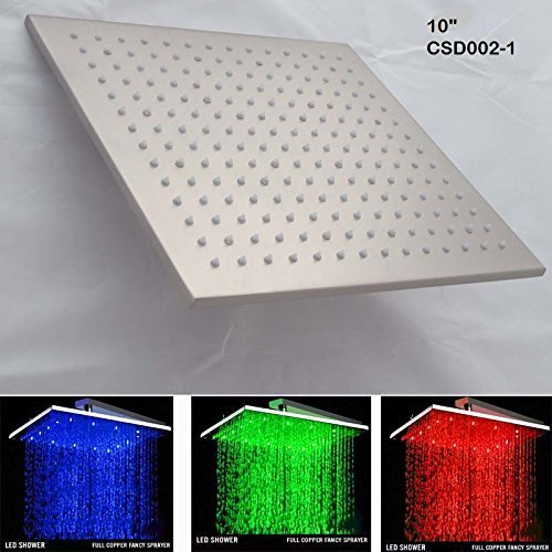 Primary image for 10 Inch Square Rainfall LED Shower Head, Heavy Duty Metal ((Without Shower Arm)