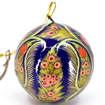 Asha Handicrafts Painted Papier-Mâché Floral Blue Holiday Christmas Ornament image 2