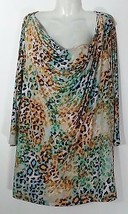 SUSAN GRAVER PRINTED 3/4 SLEEVES TOP WITH DRAPE NECK 2X 22 24 NEW  - $28.04