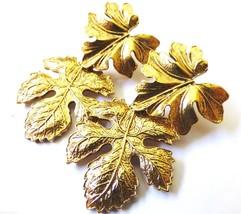 Gold Tone Metal Double Leaf dangle charm pierced  earrings - $19.01