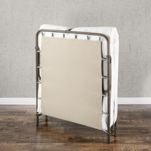 Folding Guest Bed Frame w Comfort Foam Mattress Folding Bed Cot Sleeping... - $118.95