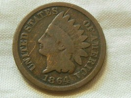 1864 nice Indian head one cent copper coin Q1 - $12.86