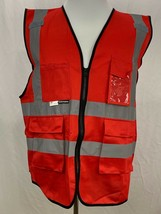 Salzmann 3M Scotchlite  Red Multi Pocket Reflective Material Safety Vest... - £16.90 GBP