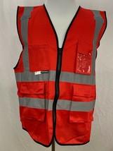 Salzmann 3M Scotchlite  Red Multi Pocket Reflective Material Safety Vest... - £16.87 GBP