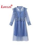 2018 Spring Autumn New Pleated Blue Fairy Flower Lace Gauze Dress Women ... - $33.40