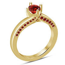 14k Yellow GP 925 Silver Women's Wedding Anniversary Ring Round Cut Red ... - $78.99