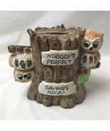 Ceramic Owl Bank Nobodys Perfect Savings Help Vintage Taiwan - $16.82