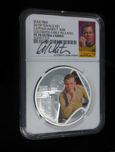 2015 Star Trek Proof  Silver 2 Coin Set Signed By William Shatner NGC PF70UC ER image 5