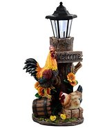 Ebros Country Farm Rooster Hen and Chicks Family by Sunflowers Solar LED... - $47.49