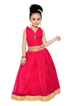 Magenta solid kids party wear gown for girls - $29.95