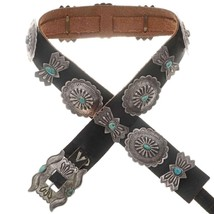 Vintage Turquoise Concho Concha Belt Sterling Silver Old Pawn c1940s/50s - $1,799.00