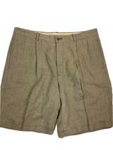 Tommy Bahama Men's Double Pleated Linen Silk Brown Herringbone Casual Sh... - $24.74