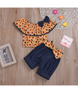 NEW Sunflower Girls Crop Top Belted Shorts Outfit Set 2T 3T 4T 5T 6 - $10.99