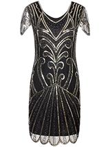 Vijiv Flapper Dress 1920s Gatsby Art Deco Sequin Embellished W/ Sleeve - $22.67
