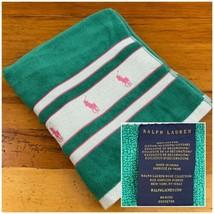 Ralph Lauren Adult Beach Towel Size 38 x 66 Green Pink Ponies Stripe 100... - $54.44