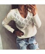 Women Sexy V Neck Pullover Sweaters 2018 Autumn Long Sleeve Tops Female ... - $40.38+