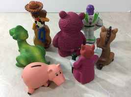 Disney Toy Story Figures with Carrying Bag 2014 Pixar Woody Buzz Hamm Lot of 7 image 3
