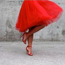 New red luxurious 6 layers hard tulle women skirt midi knee length full ... - $48.00
