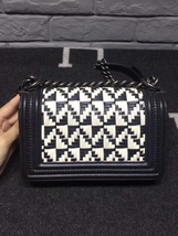 100% AUTHENTIC CHANEL BLACK WHITE WOVEN CALFSKIN SMALL BOY FLAP BAG RHW  image 3