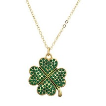 Lux Accessories Pave St. Patricks Day Four Leaf Clover Shamrock Charm (G... - $16.98