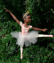 Ksa Hand Painted African American Ballerina On Pointe Ballet Xmas Ornament A - $10.88