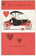 Vintage Valentine Card Old Fashioned Car Model T Flocked Unused Gibson - $7.91