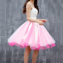 Midi Tulle Ruffle Skirt 6-Layered Ballerina Tulle Skirt Brown White image 7
