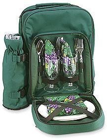 Dark Green Wine Country Picnic Tote For 2