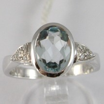 WHITE GOLD RING 750 18K, WITH AQUAMARINE OVAL CARAT 1.6, AND DIAMONDS - £570.23 GBP