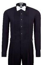 New Berlioni Italy Men's Premium Tuxedo Dress Shirt Wingtip Collar Bow-Tie Black
