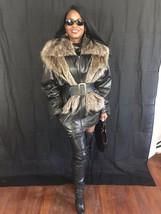 Fab vtg Designer Yves Salomon black leather & Raccoon fur trim Jacket Coat Sz 40 - $499.99