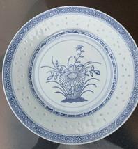 Vintage Rice Pattern Plates  2 Floral Blue White - $27.70