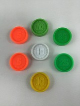 Fisher Price Coins 7pc Lot For Waitress Tray Coin Dispenser Vintage 1984 image 1