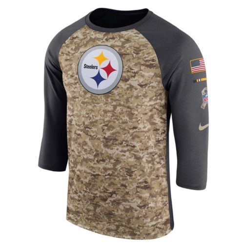 627cee8c8 Pittsburgh Steelers Nike Dri-Fit NFL Salute To Service XL 3 4 Raglan T-Shirt   40 -  40.00