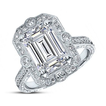 Womens Emerald Cut Diamond Engagement Ring 14k White Gold Finish 925 Rea... - £60.54 GBP