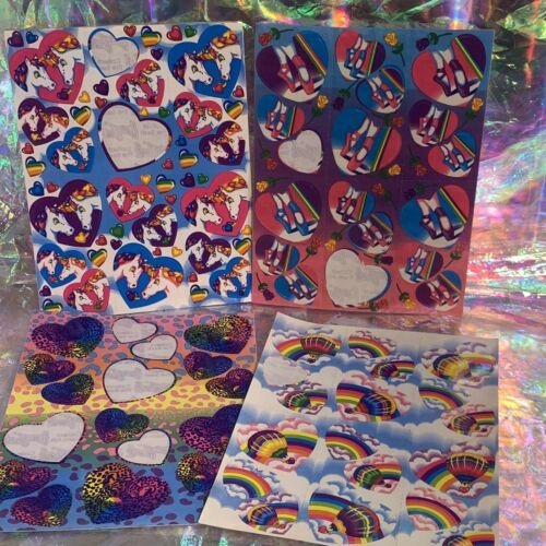 Incomplete Vintage Lisa Frank Sticker Sheets Hearts & Unicorns Ballet Cheetah !